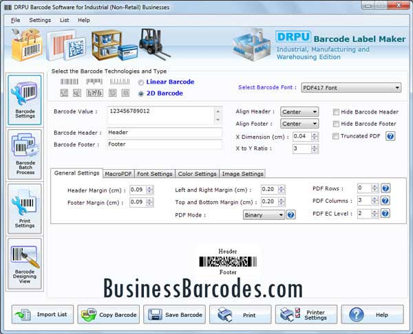 Warehousing Industry Barcodes Maker